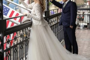 Trendy_Long_Sleeve_Tara_Keely_Wedding_Gown-waving