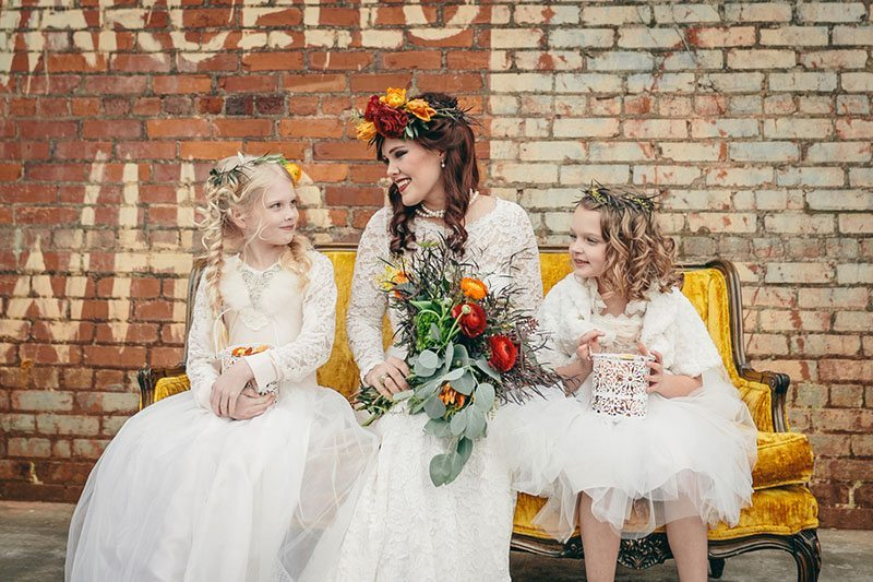 Industrial_Warehouse_Shoot-bride_with_flower_girls