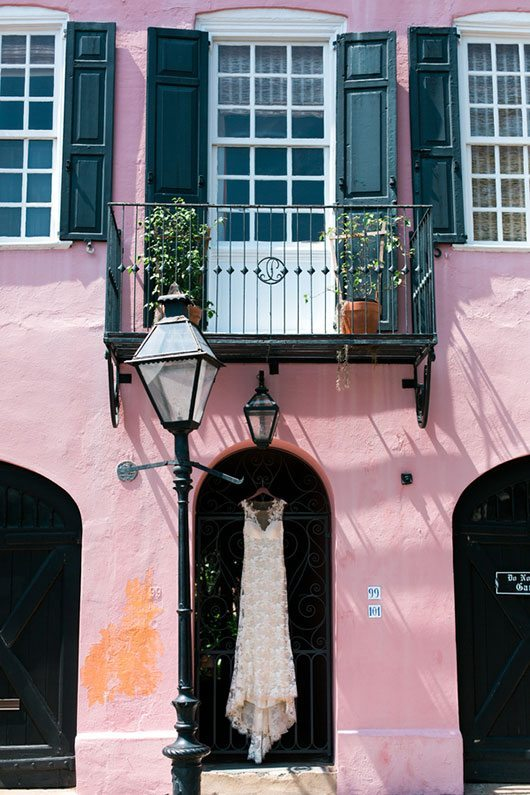 French_Boho-pink_building_with_bridal_gown