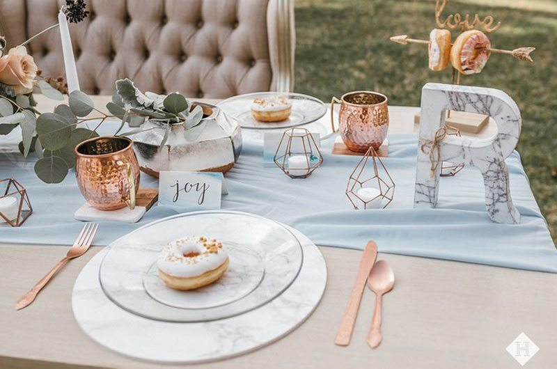 Modern Rustic Wedding Table Set With Donuts