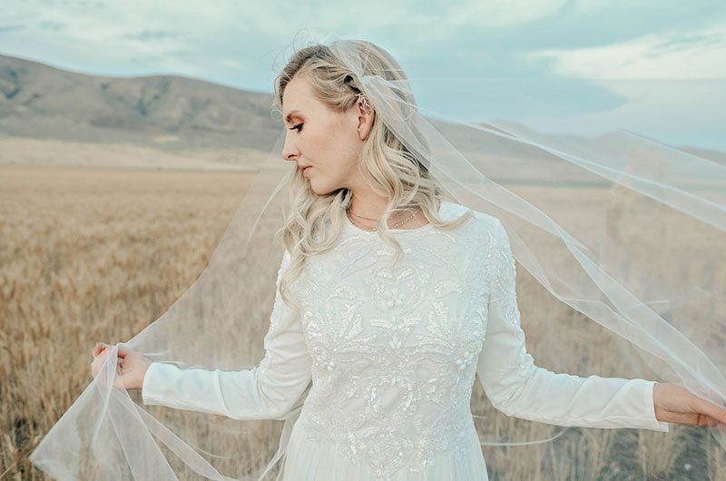 Bountiful Wheat Harvest Bride In Field With Veil