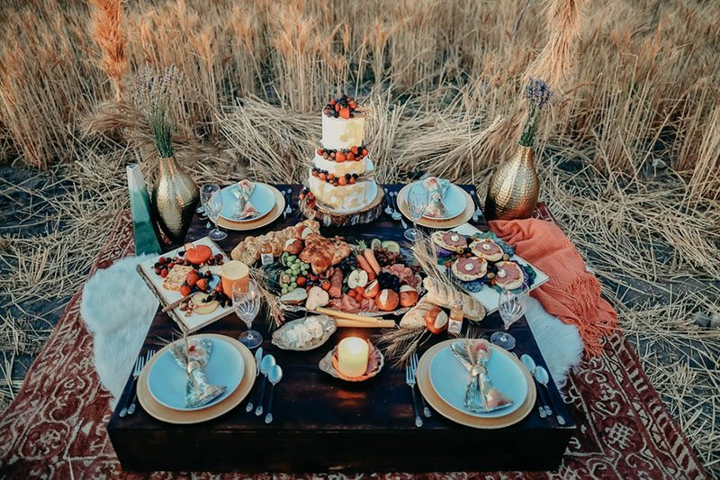 Bountiful Wheat Harvest Food With Cake In Field