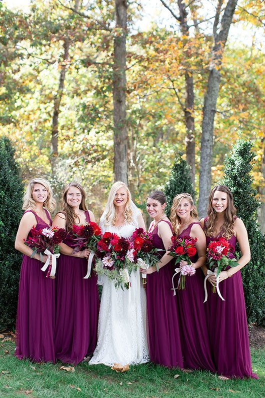 Halloween Wedding Bridal Party Holding Flowers