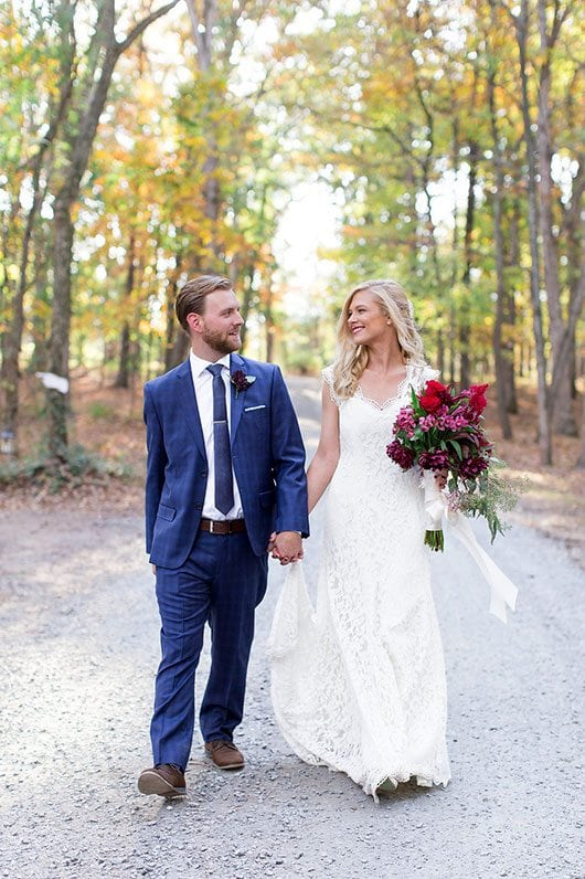 Halloween Wedding Bride And Groom On Gravel Road