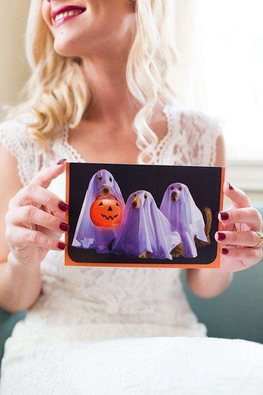 Halloween Wedding Bride Holding Halloween Cards