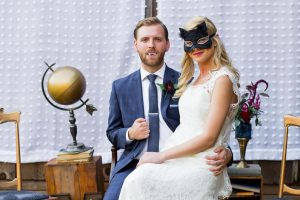 Halloween Wedding Bride Wearing Black Mask With Groom1