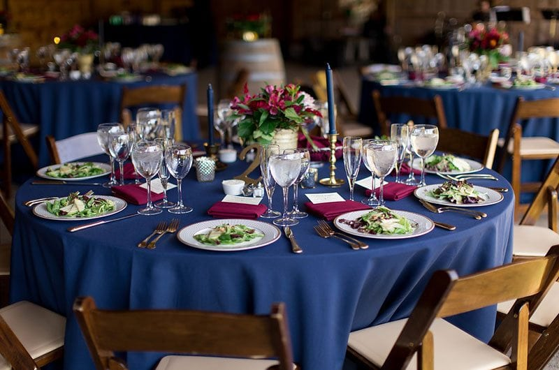 Halloween Wedding Reception With Blue Table Clothe