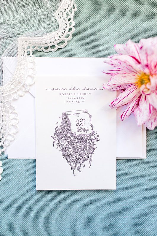 Halloween Wedding Save The Date With Flowers