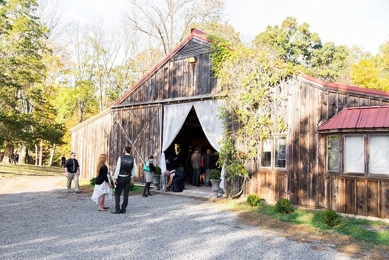 Halloween Wedding Wooden Barn Reception Area