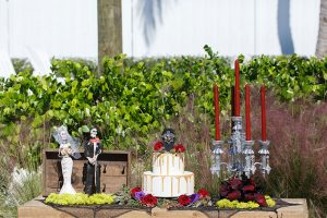 Vampire Wedding Cake And Candles And Skeleton