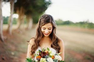 Autumn Bride Holding Flowers Face