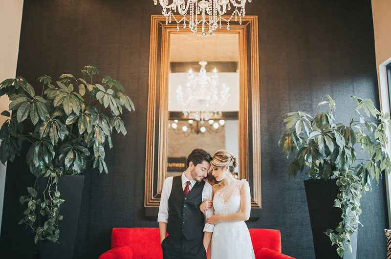 Hotel Bride And Groom By Mirror