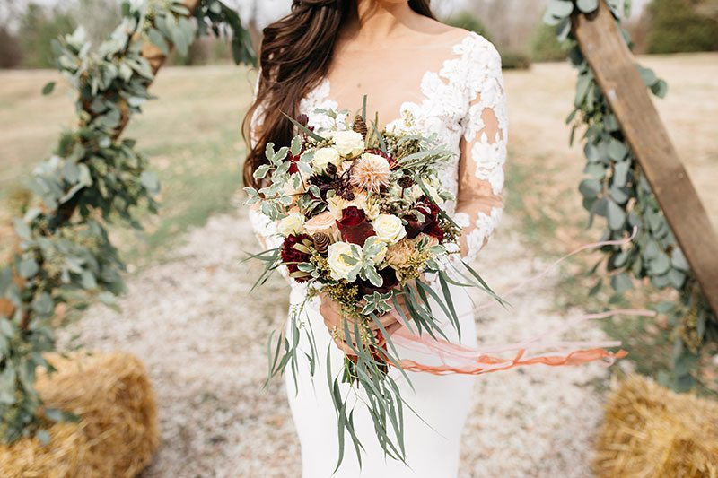 Timeless Territory Bride Holding Flowers