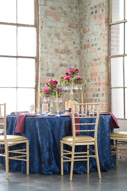 Vintage Copper Blue Table Cloth With Gold Chairs