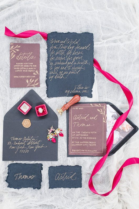 Vintage Copper Invitations With Ribbon And Ring