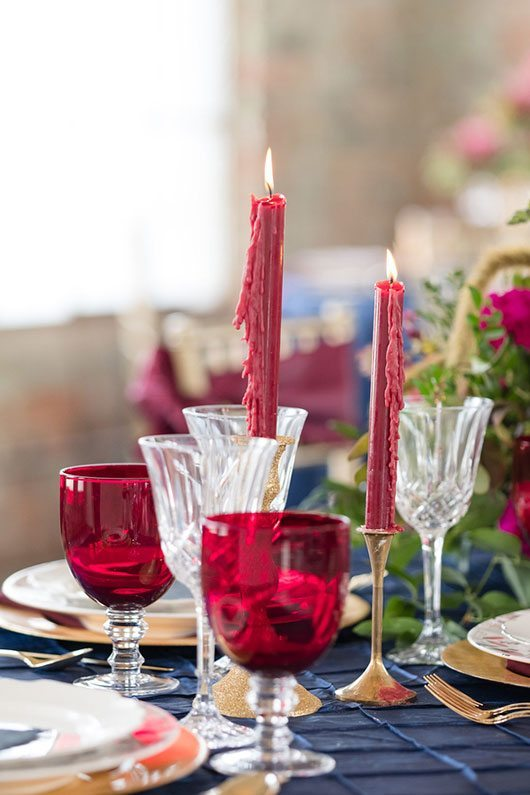 Vintage Copper Red Candles With Red Classes