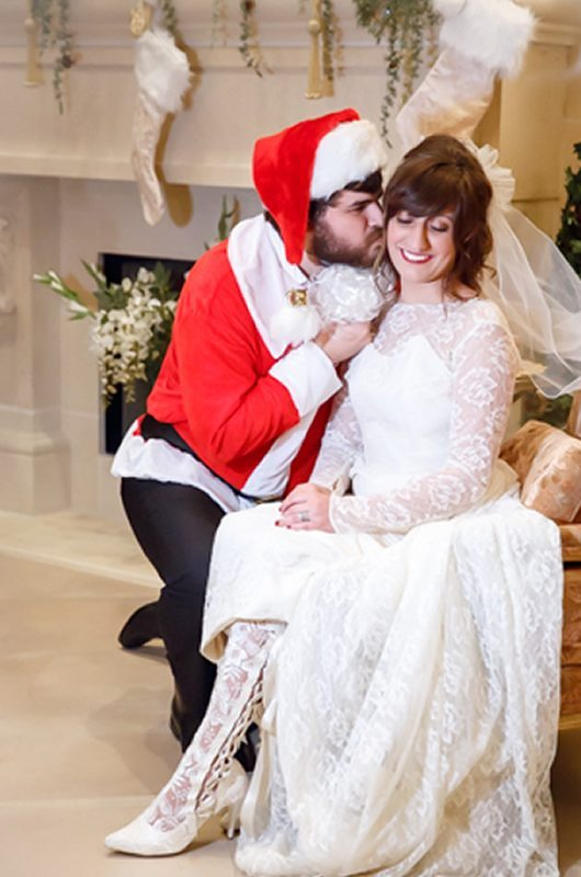 I Saw Mommy Kissing Santa Claus Groom Kissing Bride