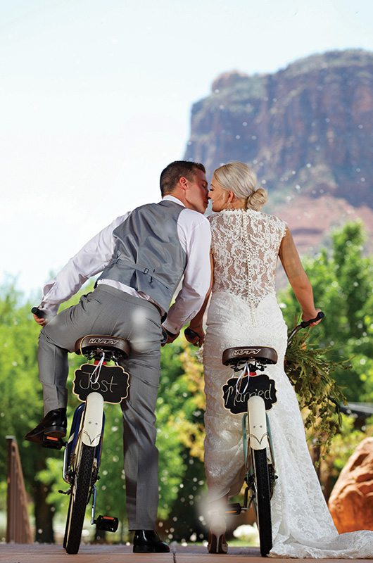Gateway Canyons Resort And Spa Gateway Colorado Bride And Groom On Bikes2
