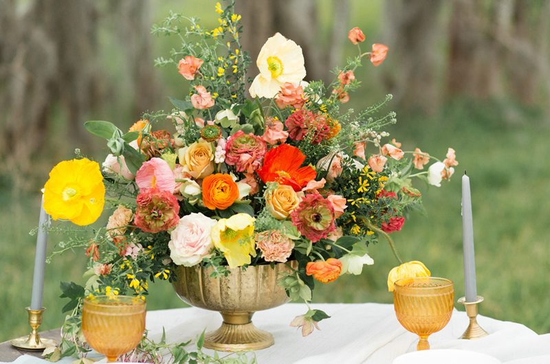 Pops of color summer wedding inspiration southern bride
