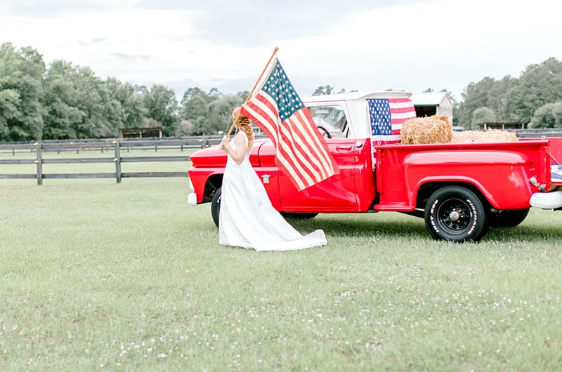Emma 4th Of July Truck And Flag Bride
