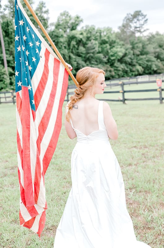 Emma 4th Of July Bride Holding Flag