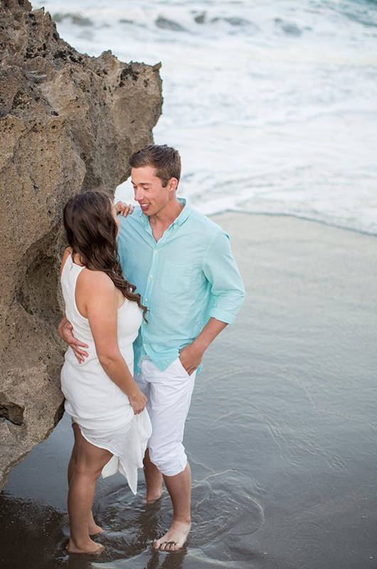 Patriotic Engagment Shoot Under Rocks Smiling