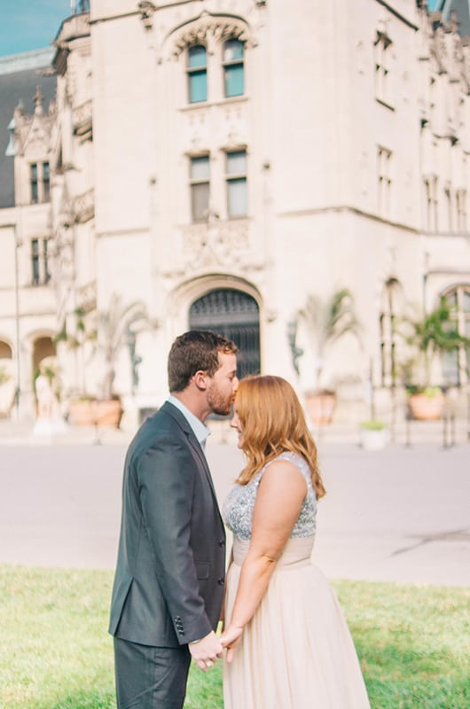 Biltmore Engagment Session Forehead Kiss