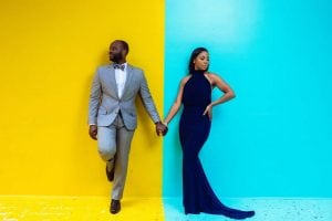 Luxury Engagement Session In Houston TX Color Block Wall Posed