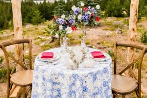 Red White Blue Lake Front Wedding Inspiration Table