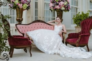 Floral Ballgown By Allure Bride On Couch