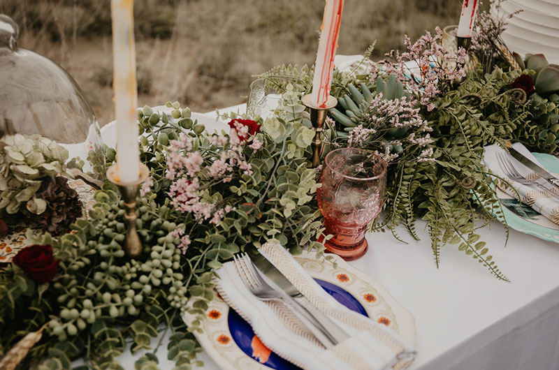 Romantic Halloween Wedding Inspiration Table Close Up