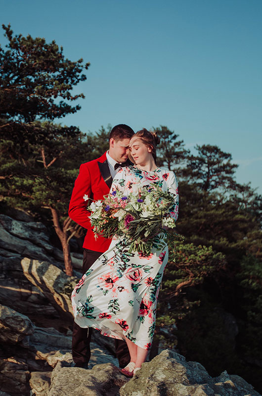 Eclectic Mountaintop Vow Renewal Couple 1
