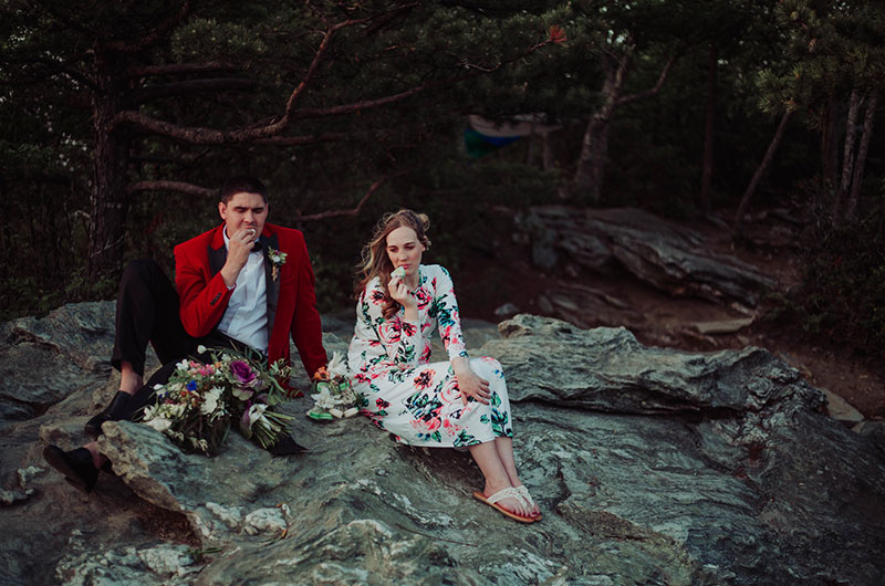 Eclectic Mountaintop Vow Renewal Couple 7