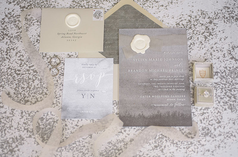 Chic Garden Wedding Inspiration Invitations