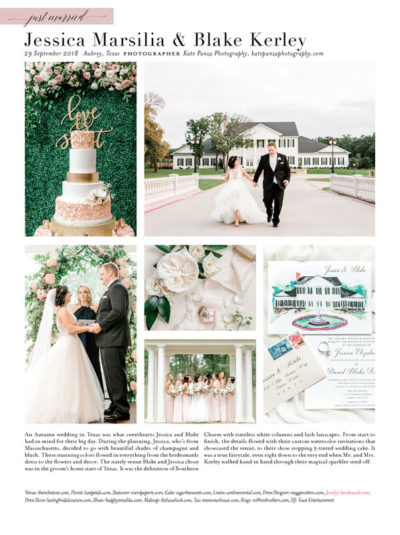 Southern Bride One Page Just Married Wedding Announcement Example