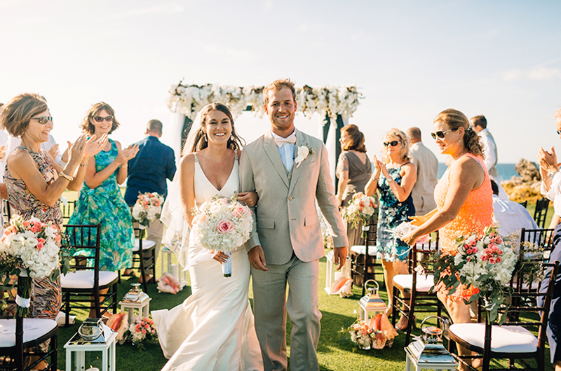 Courtney Hannan & Matthew Woltz Sandals Resort Husband And Wife Down The Aisle
