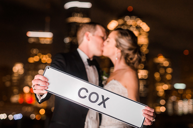 Kathryn Leona And Justin Stewart Cox Bride And Groom Cox Sign