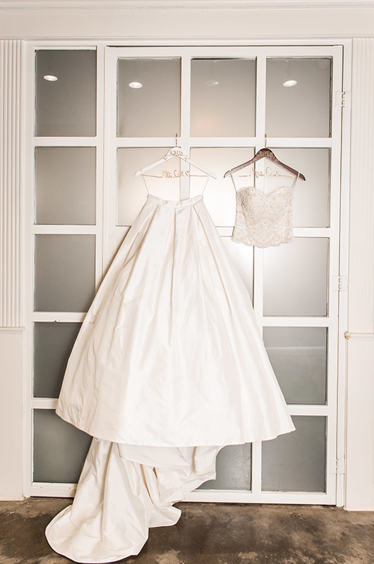 Kathryn Leona And Justin Stewart Cox Wedding Dress On Wire Name Hangers