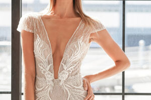 Winter Wedding Trends From NYFBW Deep Neck Line With Beading Accents