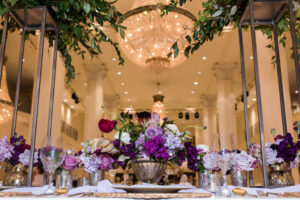 Show Us The Pretty Bridal Extravaganza Wows Atlanta Purple Flower Arrangement Table Decor