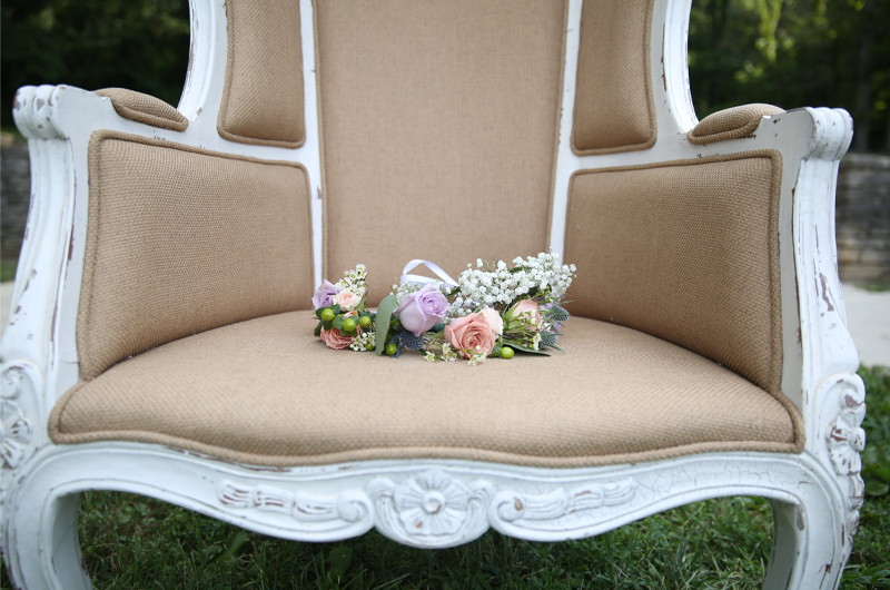 The Story Of Taylord Crowns Fresh Flower Crowns Flower Bouquet In Armchair