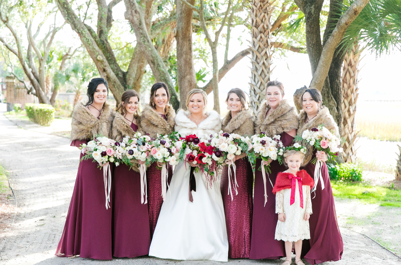 Kristin Almond & Jay Brown Bride And Bridesmaids Outside