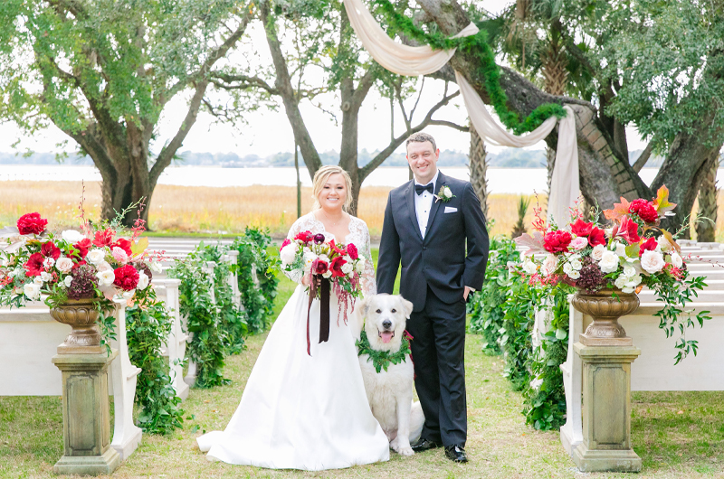 Kristin Almond & Jay Brown Bride And Groom With Dog
