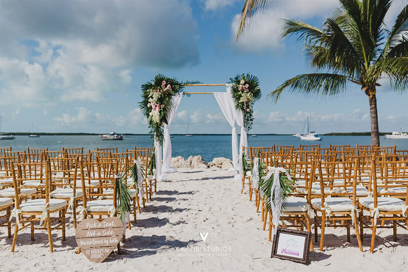Florida Key Destination Wedding Show Beach Ceremony Set Up