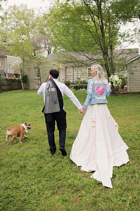 "Memphis Chef Josh Steiner & Marketing Director Wallis Tosi's Virtual At Home ""I Do"" Is Beyond Adorable Wedding Jean Jacket (1)"