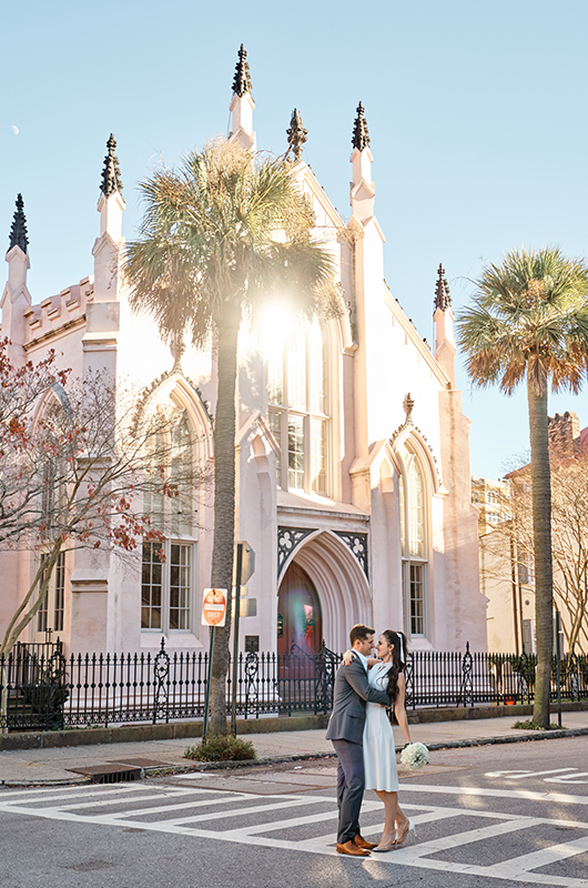 South Carolina Couple Postpones Big Wedding For A Christmas Elopement Bride And Groom Outside The Church